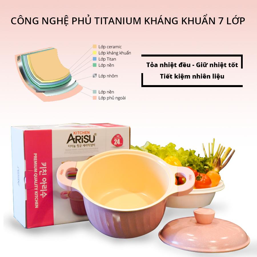 Nồi kháng khuẩn phủ 7 lớp phủ TITANIUM Happy Home Pro màu hồng size 24