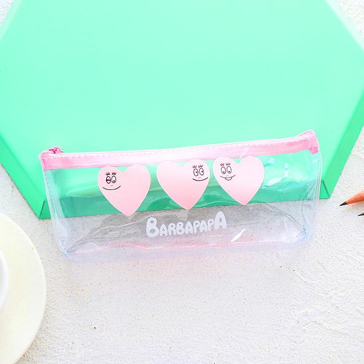 Hộp bút nhựa trong suốt Barbapapa hồng - nhiều mẫu