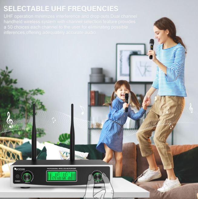 Micro cầm tay UHF không dây kép FIFINE 040 chính hãng với đầu ra XLR cho cân bằng riêng lẻ (573.5-594.9 MHz)