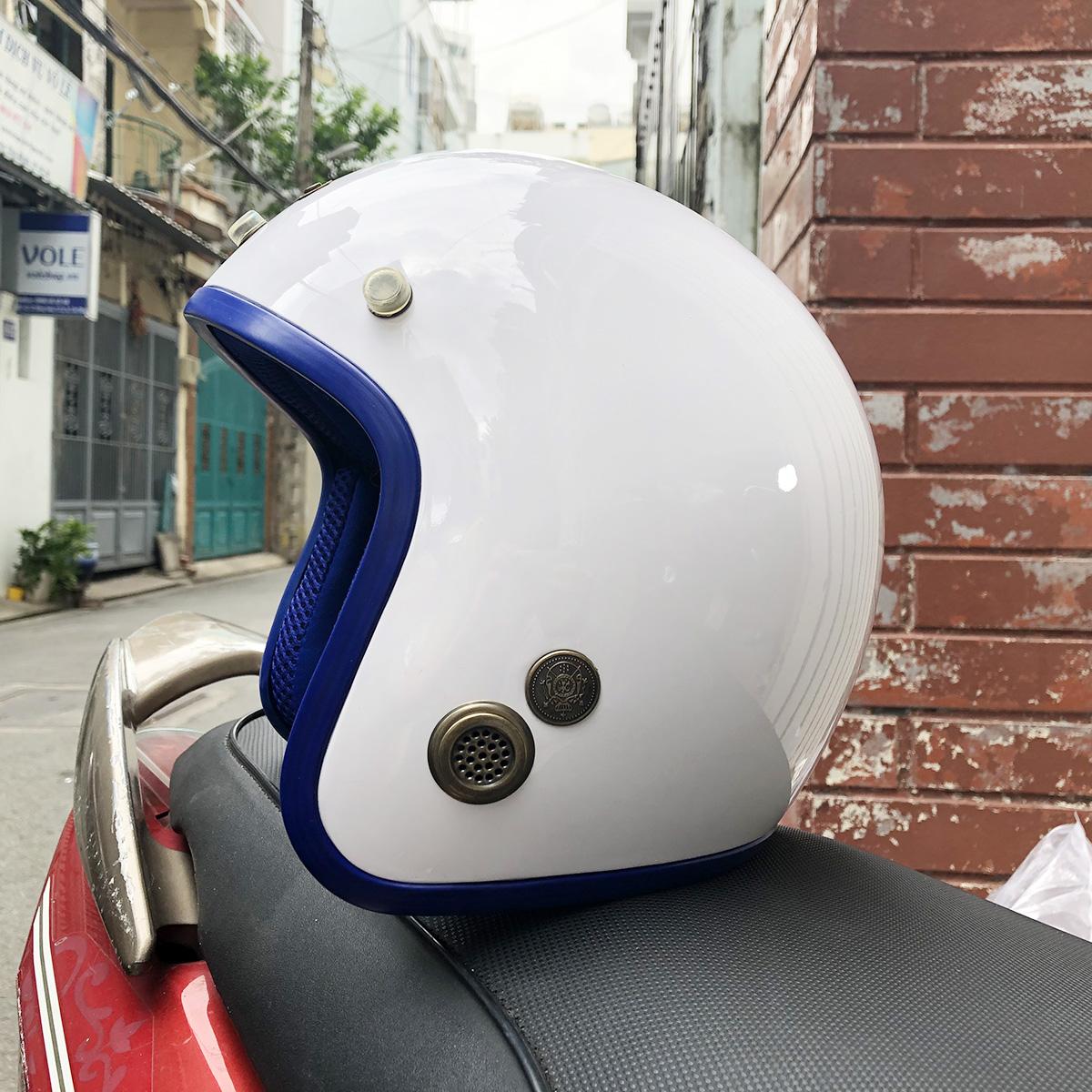 Mũ Bảo Hiểm 3/4 Napoli SH N099 - Trắng Lót Xanh Dương Đậm