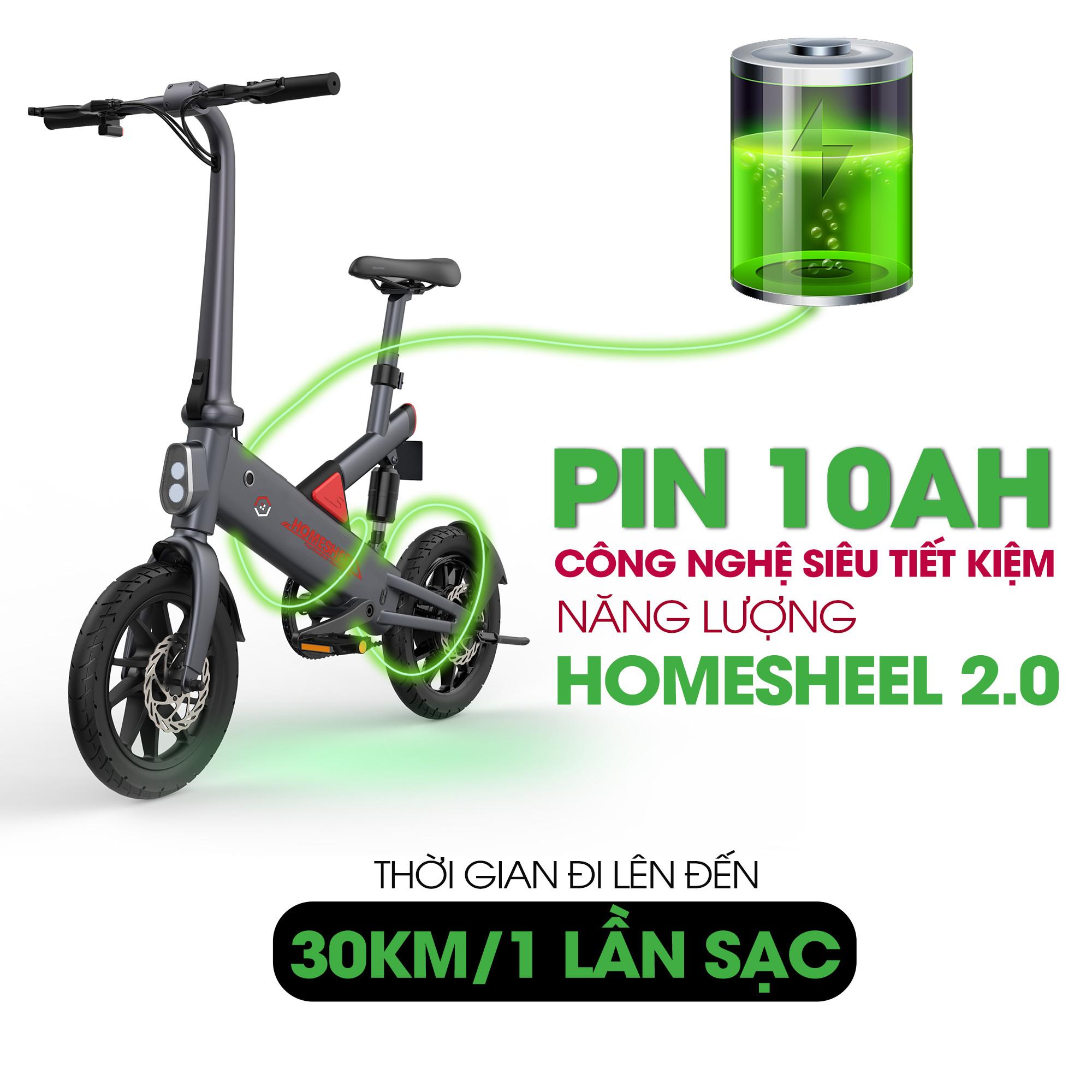 Xe điện trợ lực gấp gọn thông minh Homesheel T6_10Ah Xanh