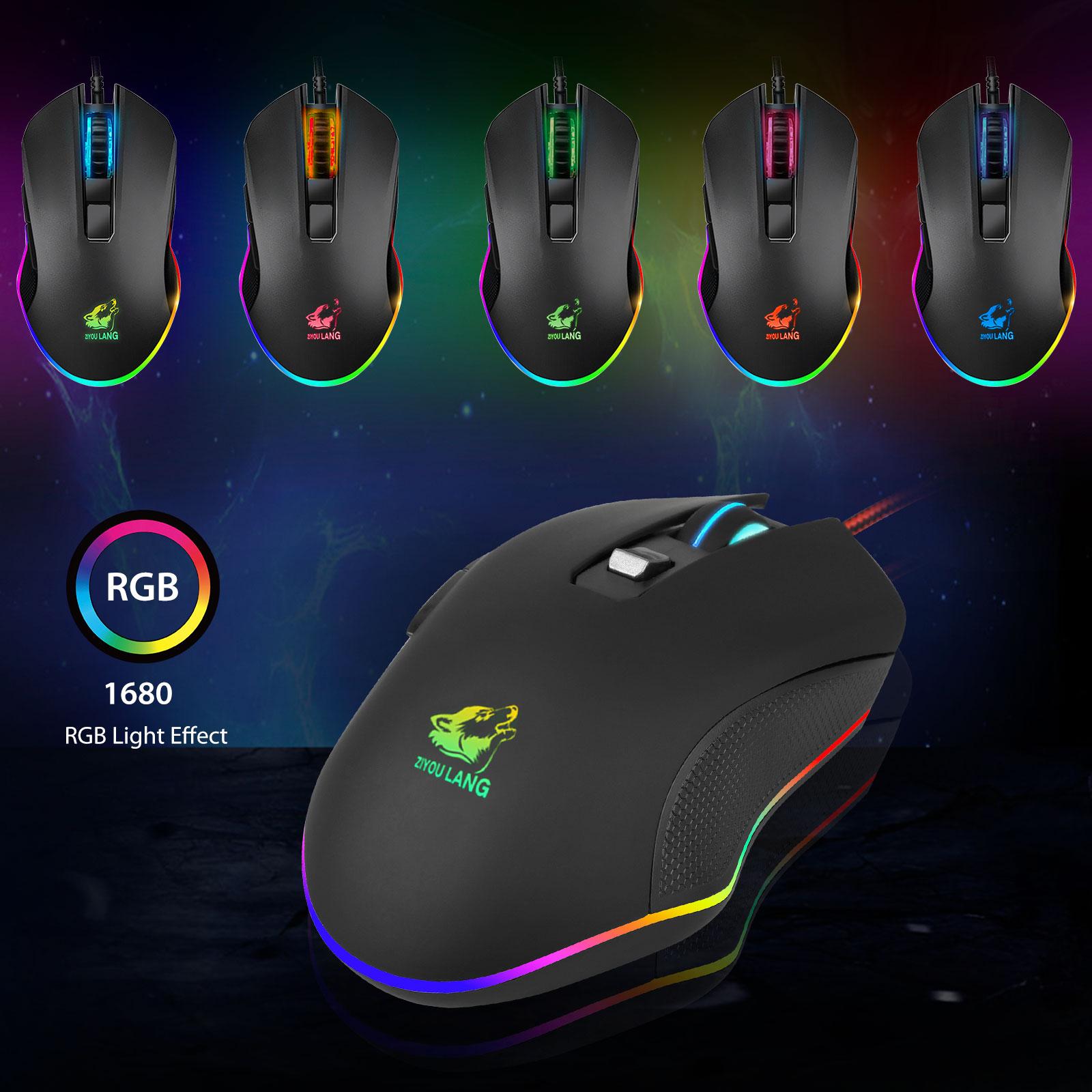 ZIYOU LANG V1 Chuột Máy Tính Gaming LED RGB Tự Động Đổi Màu, Có 3 Mức DPI,Kiểu Dáng Gaming Có Dây - Hàng chính hãng