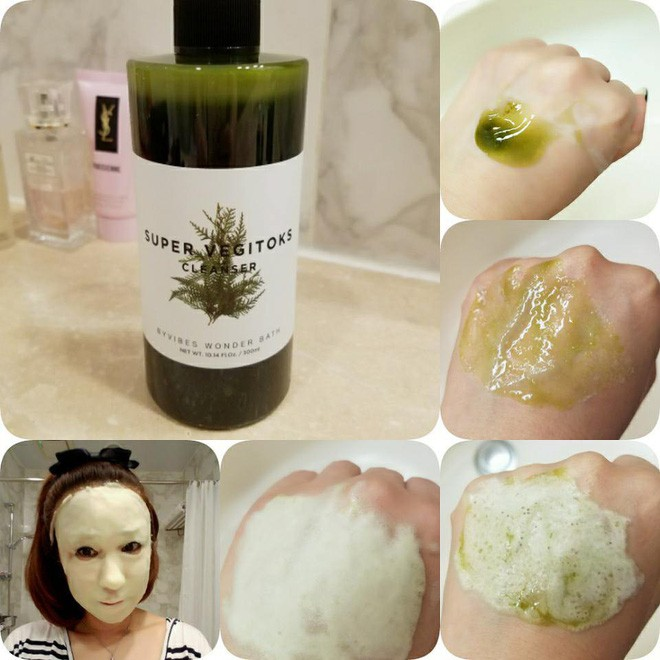 Sữa Rửa Rặt Thải Độc Rau Củ Byvibes Wonder Bath Super Vegitoks Cleanser 300ml Tặng Kèm Máy Massage Mặt Ion