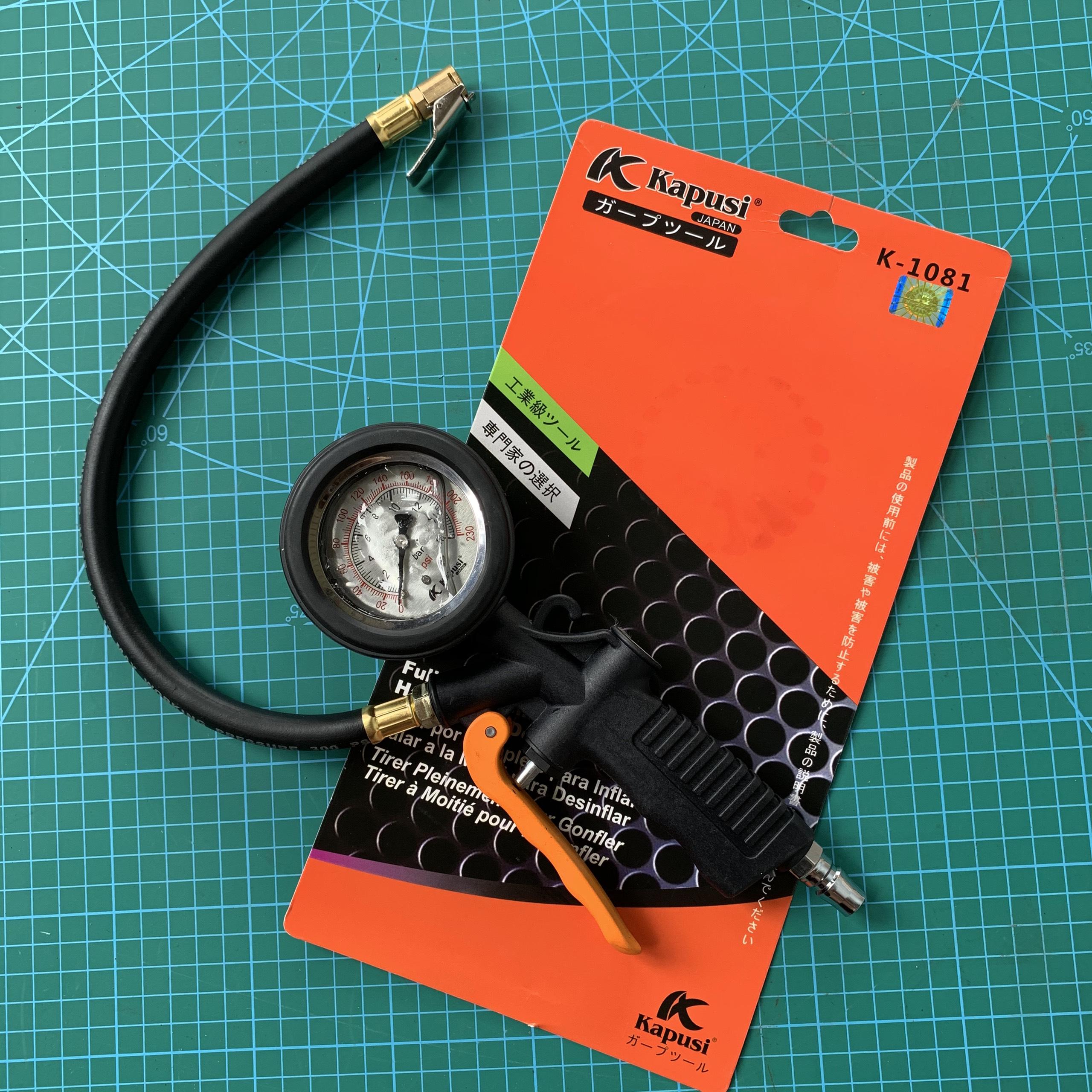 Đầu vòi bơm lốp ô tô đồng hồ dầu - xe máy -đồng hồ đo lốp xe 3 chức năng chuyên dụng cho thợ sửa chữa gara ô tô xe máy - Thương hiệu Kapusi