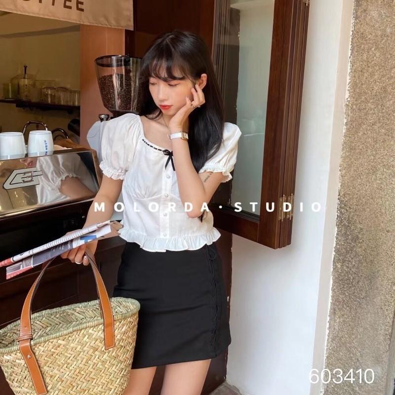 Somi croptop viền ren chun lưng tiểu thư 603410