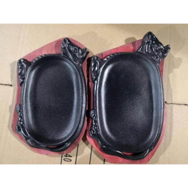 Chảo nướng gang đen có hình đầu bò 2 cỡ