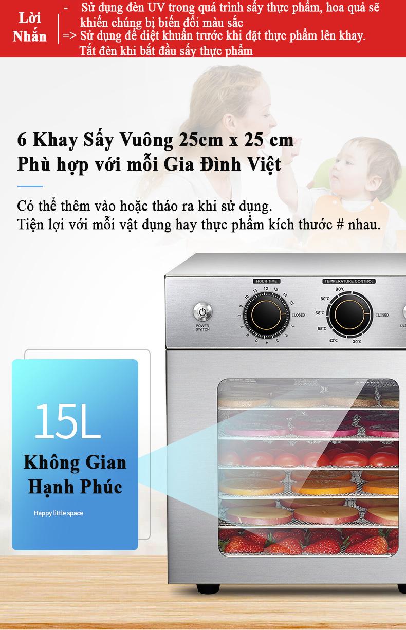 Máy Sấy Thực Phẩm Inox 6 khay, Tiệt Trùng Vật Dụng UV, Làm Đồ Ăn Dặm cho Bé Hàng Chính Hãng