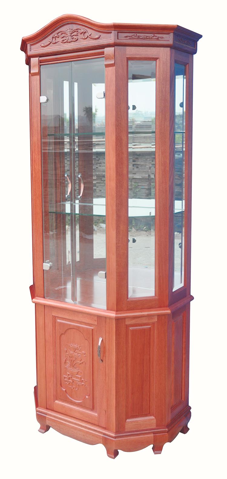 Tủ rượu lục lăng (80 x 205 x 42cm) -  Phào cong đục Gỗ Xoan Đào Nam Phi