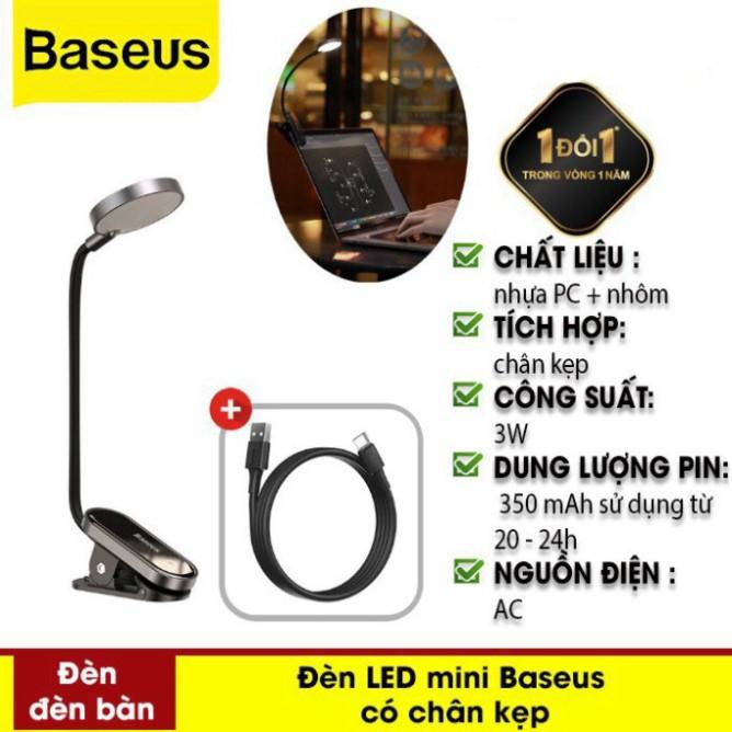 Đèn Đọc Sách Mini, Pin Sạc Tiện Dụng Comfort Reading Mini Clip Lamp Hàng Chính Hãng Baseus