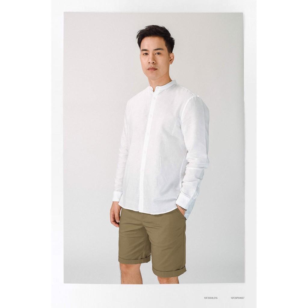 [ROUTINE] Áo sơ mi cổ trụ hộp ly to vải linen pha cotton dày 2 màu 10F20SHL053 - shop LASTORE