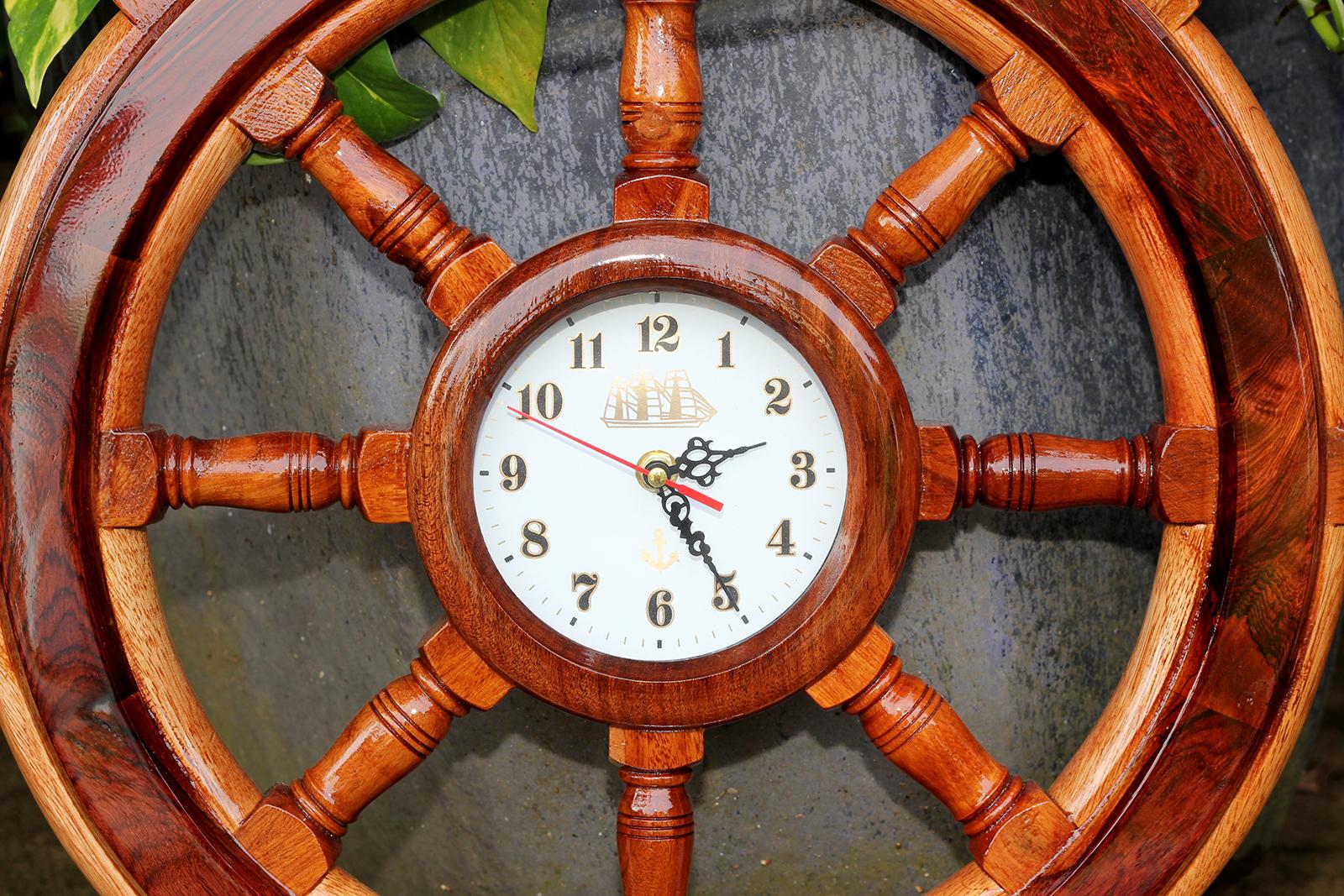 Vô lăng bánh lái tàu gỗ Ø60cm - Gỗ Căm Xe + Gỗ Cẩm Lai - Có đồng hồ, trang trí nhà cửa - phòng khách - bàn làm việc, quà tặng tân gia - sinh nhật - khai trương