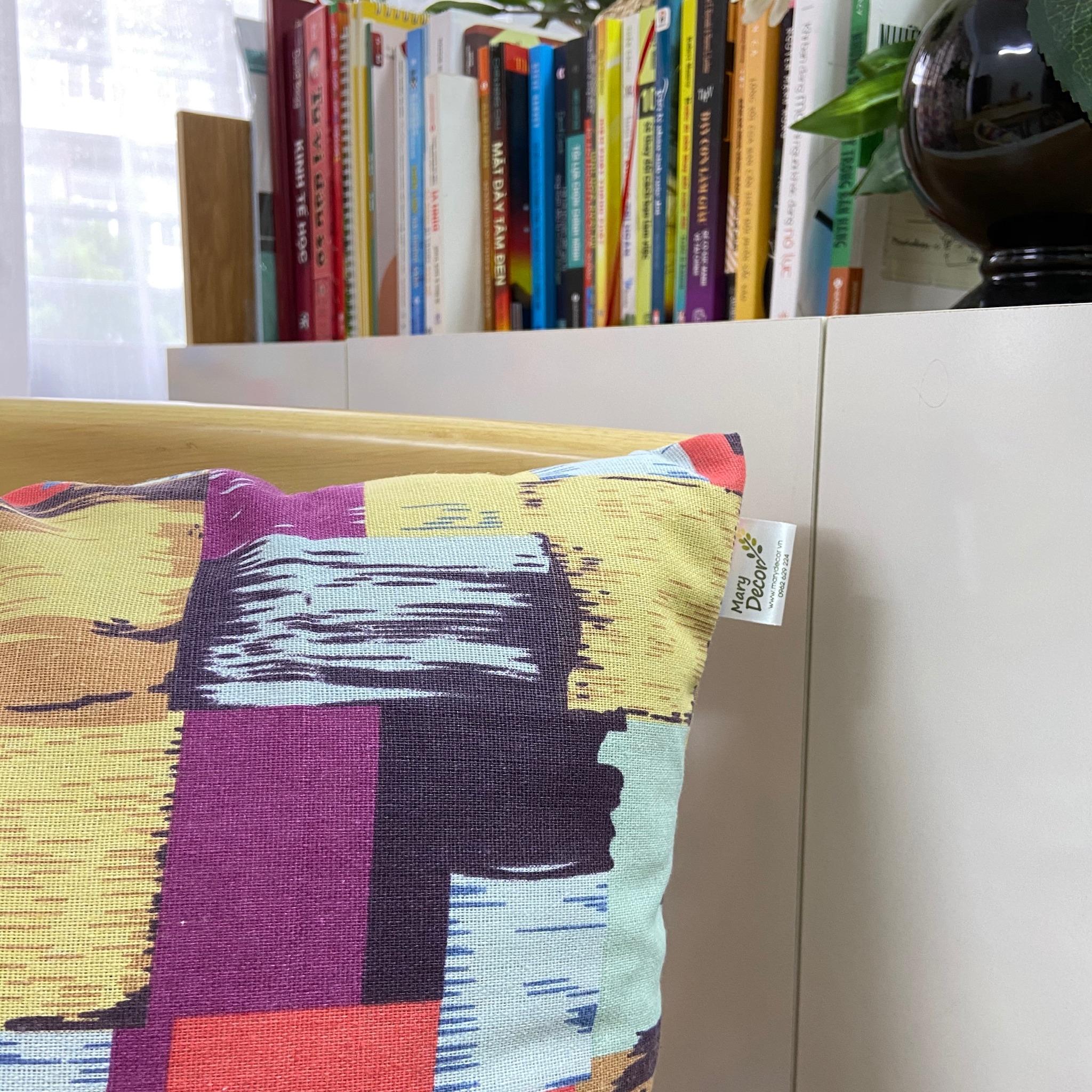 Rèm cửa sổ chống nắng decor MARYTEXCO trang trí nhà cửa, làm dịu nhẹ ánh sáng tự nhiên, rèm ore hoàn thiện tặng kèm dây buộc rèm vintage - họa tiết SẮC MÀU R-A05