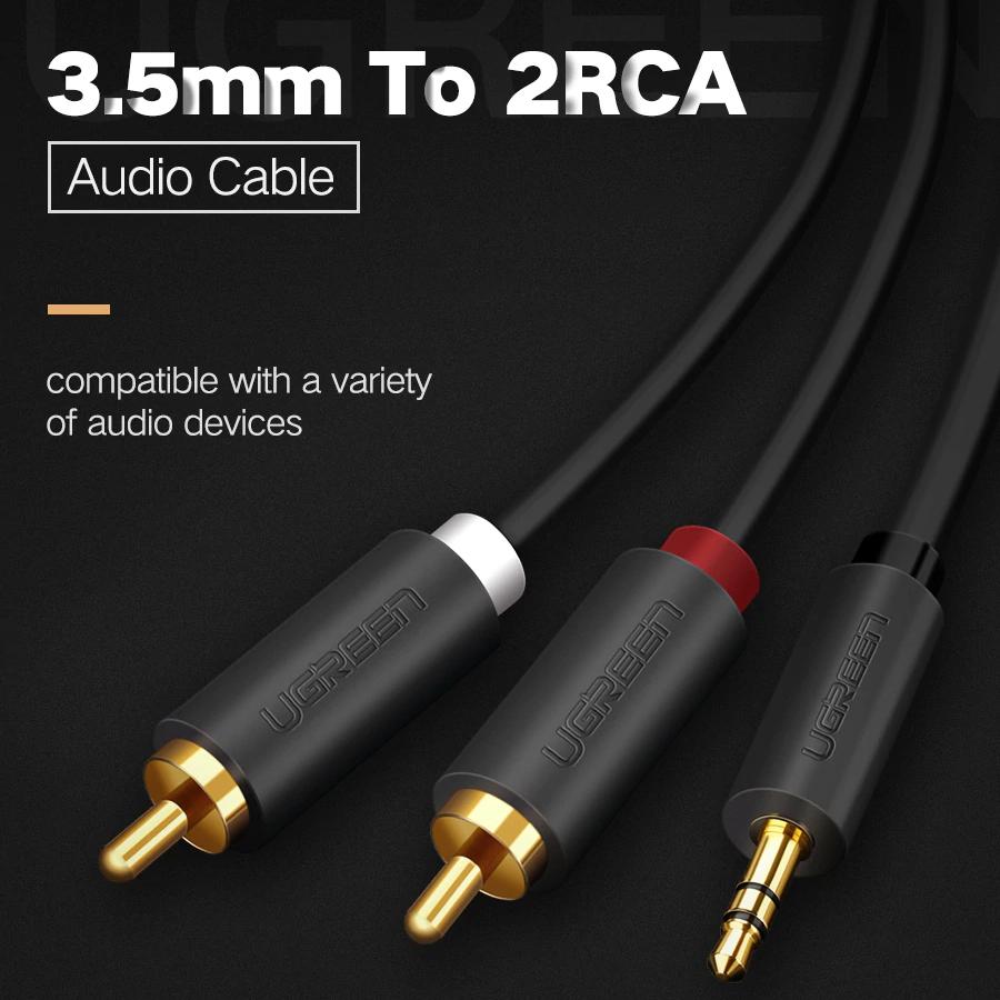 Cáp Audio 3.5mm to AV hoa sen (RCA) dài 2M Ugreen 10510 - Hàng Chính Hãng