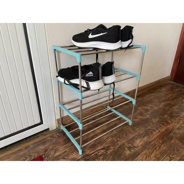 Giá kệ để giầy dép khung sắt giá rẻ ( loại 4 ngăn để được 8 đôi )