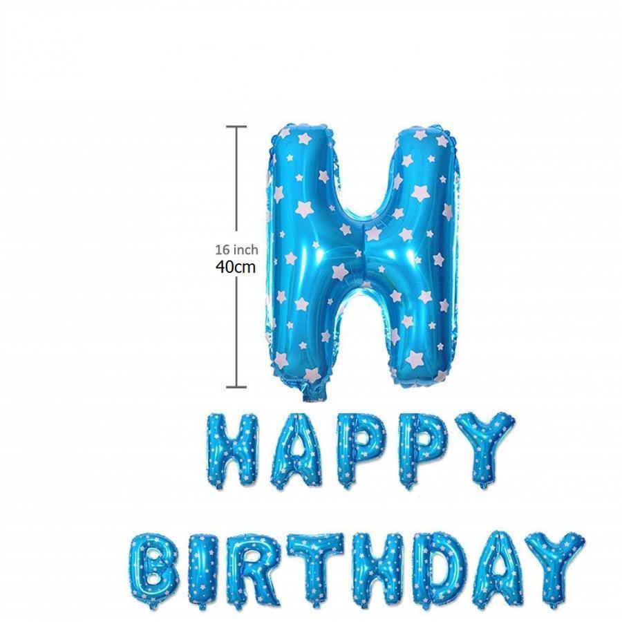 Bong bóng chữ Happy Birthday xanh ngôi sao
