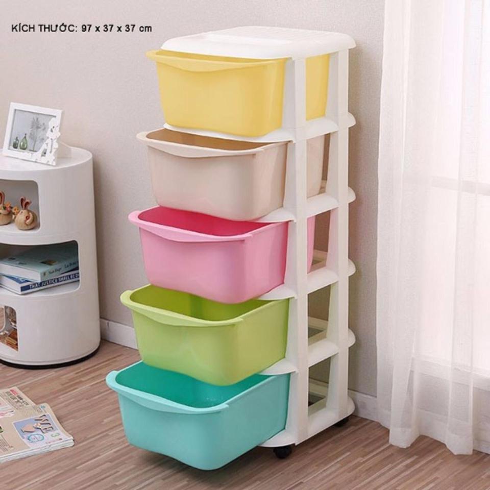 Tủ nhựa 5 tầng để đồ có bánh xe (giao màu ngẫu nhiên)