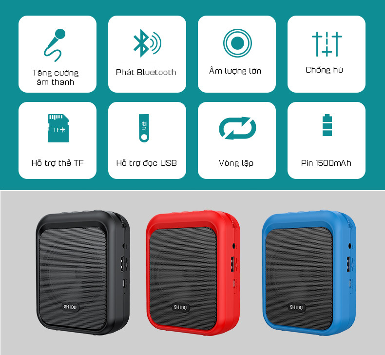 Loa Trợ Giảng Có Dây Hỗ Trợ Nghe Nhạc Bluetooth 5.0 SHIDU SD-M100 Hàng Chính Hãng