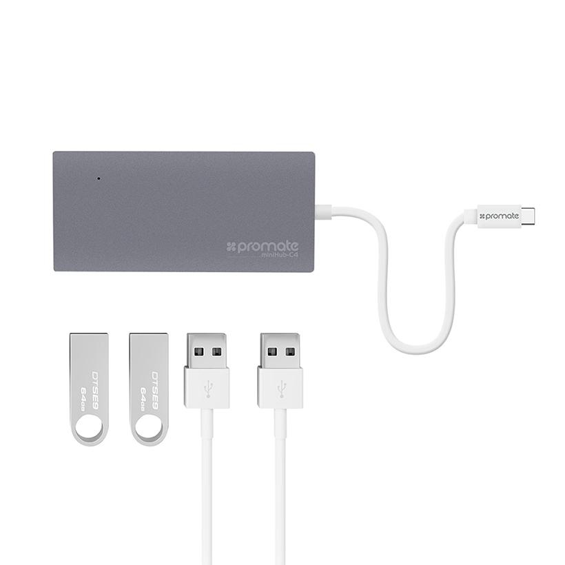 Bộ Chuyển Promate Minihub-C4 USB Type-C - Hàng Chính Hãng