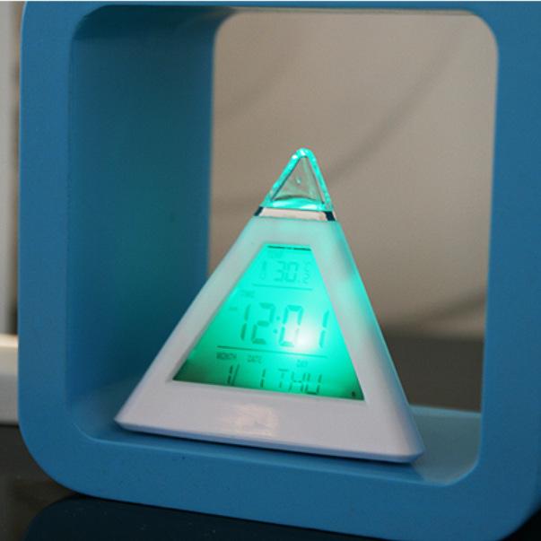 Đồng hồ hiển thị đầy đủ ngày tháng, nhiệt độ tích hợp màn hình LCD, đổi màu  ( Tặng kèm 03 nút kẹp đa năng ngẫu nhiên )
