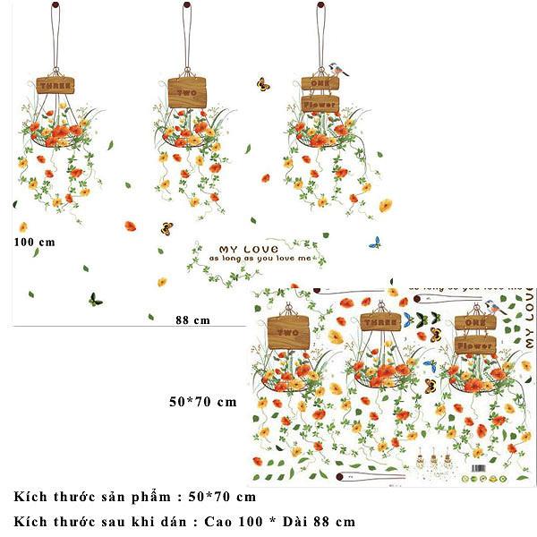 Decal dán tường 3 giỏ hoa cho ZOOYOO XL7106