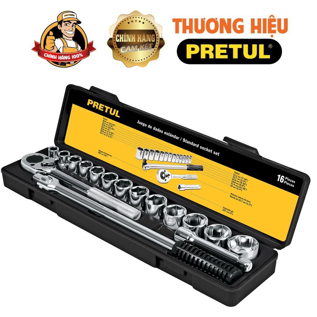 Bộ dụng cụ sửa chữa đa năng,Bộ đồ nghề đa năng,dụng cụ sửa xe,Bộ socket 16 chi tiết 10 - 27mm Pretul jd-1/2X17mm-p.