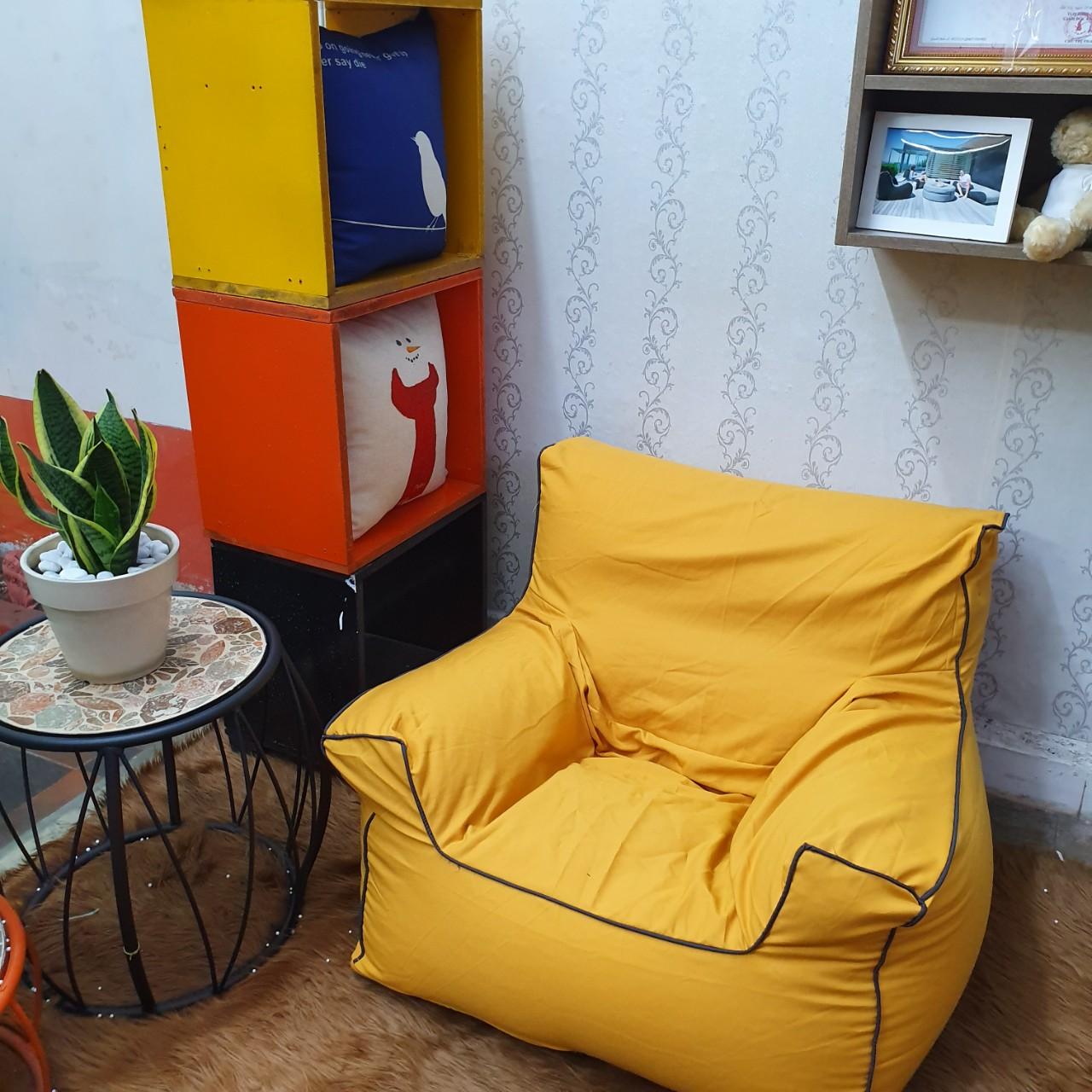 Ghế Lười Sofa Chair Nhung Vàng