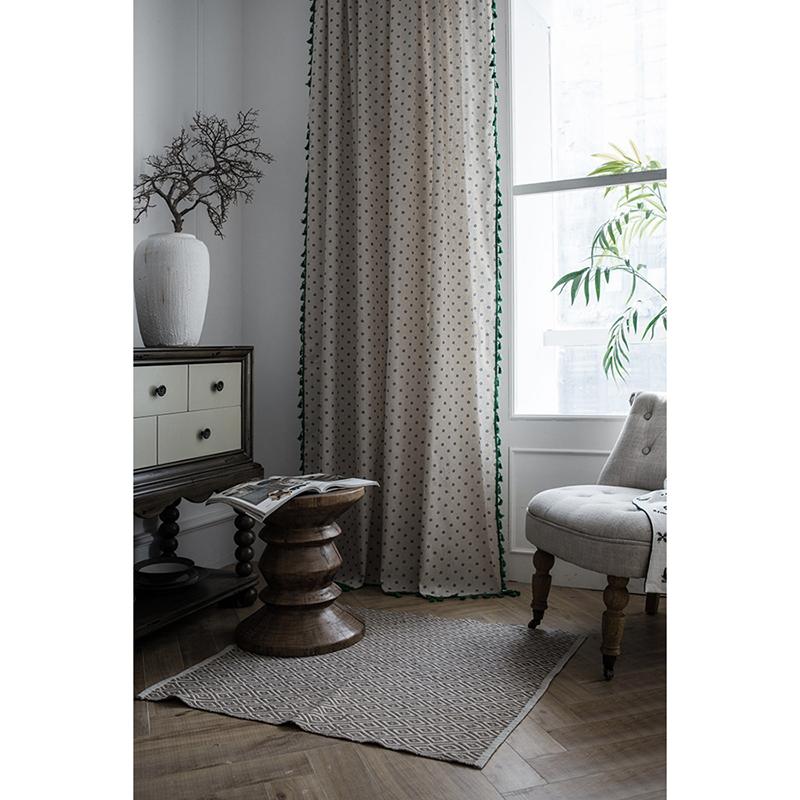 Rèm trang trí tường phòng ngủ, rèm vintage MARYTEXCO trang trí nhà cửa, làm dịu nhẹ ánh sáng tự nhiên, rèm ore hoàn thiện tặng kèm dây buộc rèm vintage, TUA RUA TRẮNG - họa tiết HOA BI R-A07