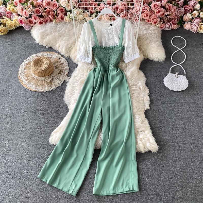 Jumpsuit đồ bay phối áo ren nhún trễ ngực 2 dây bản to quần dài ống suông rộng trơn màu thanh lịch nhiều màu pastel