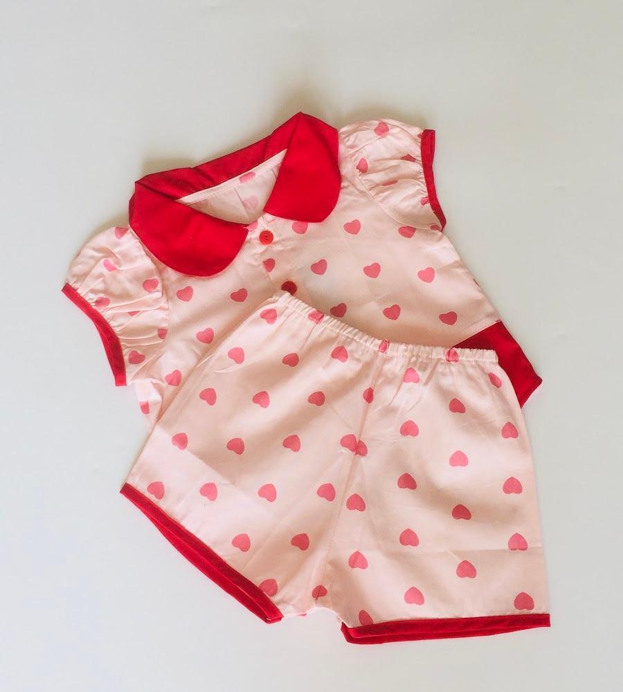 Bộ quần áo ngắn bé gái Tim đỏ tươi cotton - AICDBG1WLYU6 - AIN Closet