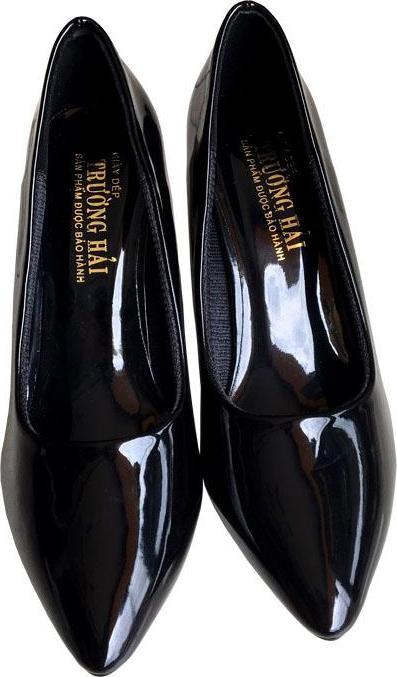 Giày cao gót 7cm Trường Hải gót nhọn da bóng đen thời trang nữ cao cấp êm ái CG088