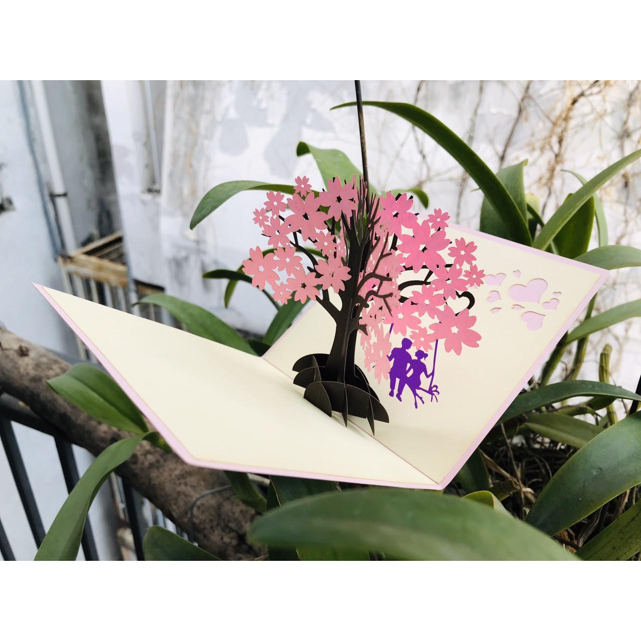 Thiệp 3D Hoa - Đôi ta bên hoa anh đào - NV48