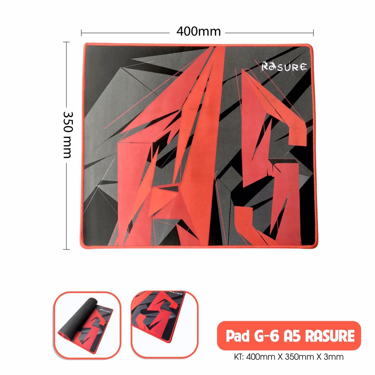 Lót Chuột Pad G-6 A5 Rasure - may viền 400x350x3mm ( giao màu ngẫu nhiên)