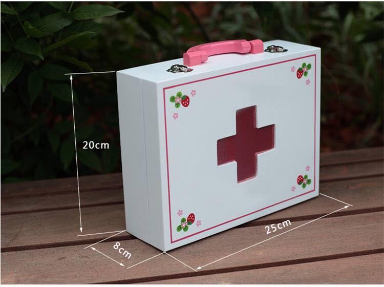 Bộ đồ chơi bác sĩ hộp gỗ trắng cho bé