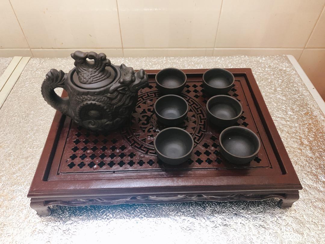 Khay trà cuộn nhựa giả gỗ loại đẹp