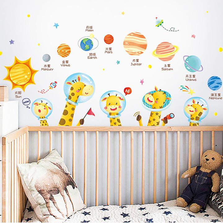 Decal dán tường chất liệu PVC loại 1 dày dặn, sắc nét,không độc hại, chuyên trang trí phòng khách, phòng ngủ, trang trí quán cafe,trang trí phòng ngủ cho bé- hành tinh và con vật- mã sản phẩm QR9098