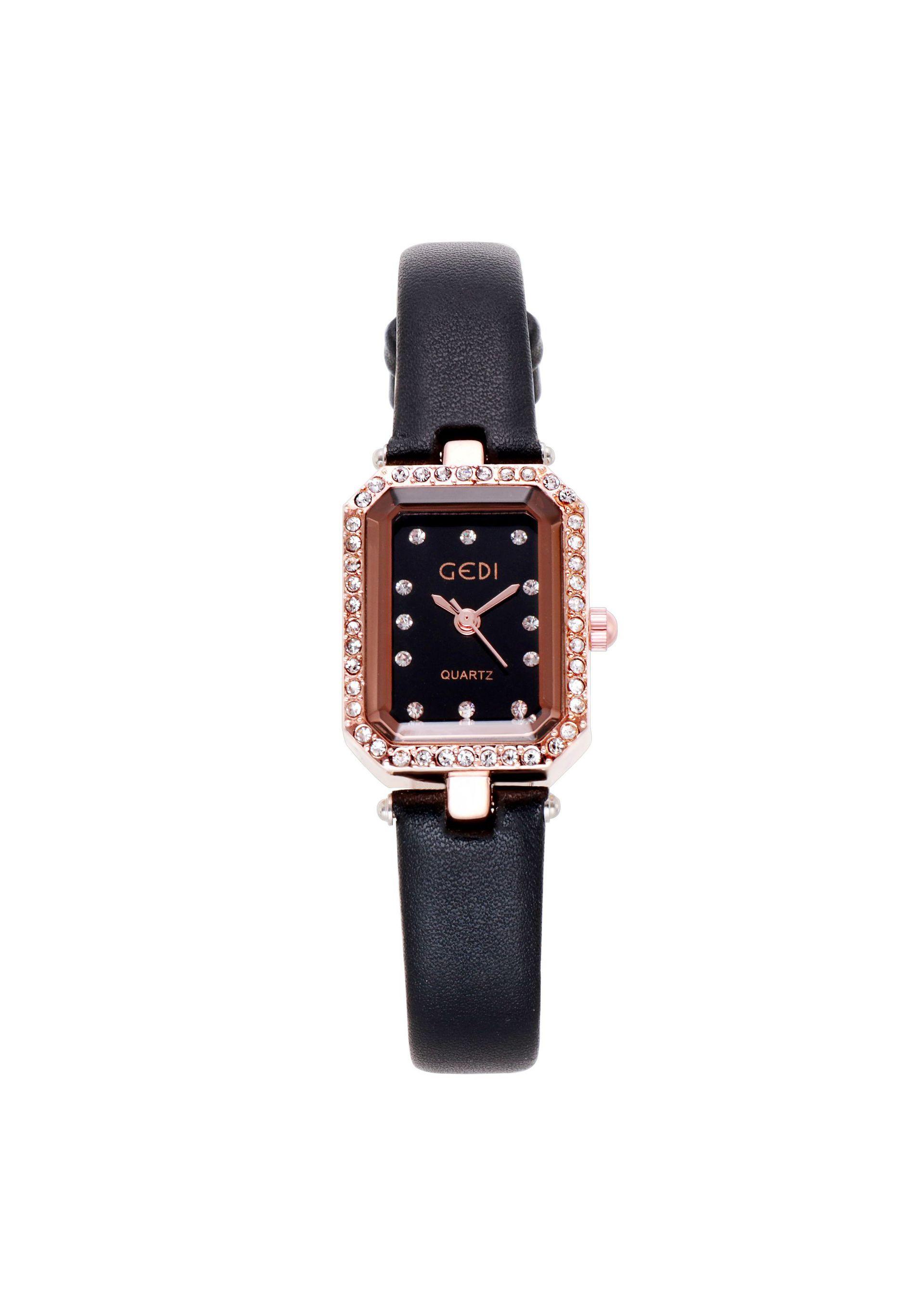 Đồng hồ nữ GEDI phong cách Hàn Quốc đính đá 3D, mặt chữ nhật nhỏ - Hàng chính hãng