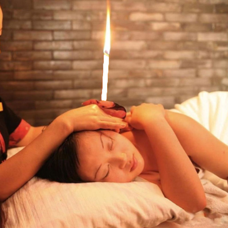 2PCS Natural Ear Candling Therapy Straight Ear Care & Ear Candle Coffee - White