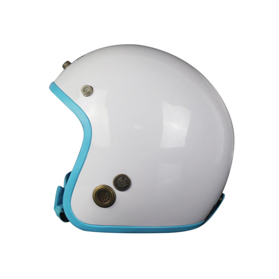 Mũ Bảo Hiểm 3/4 Đầu Napoli Trắng Lót Xanh Dương Nhạt - FreeSize (Vòng Đầu 55-58Cm)