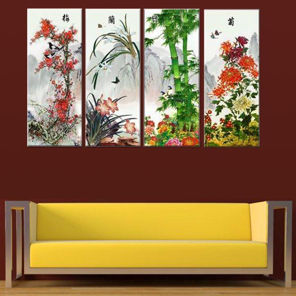 Tranh Canvas treo tường nghệ thuật | Bộ 4 bức | HLB_012