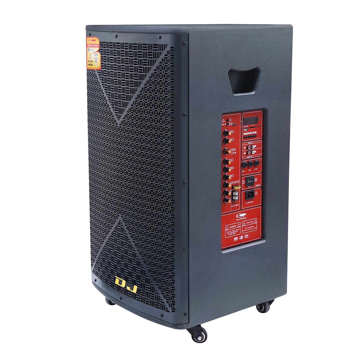 Loa kéo Bình di động Karaoke H-15 (400W) 4 tấc + kèm bộ Micro không dây  - Hàng chính hãng