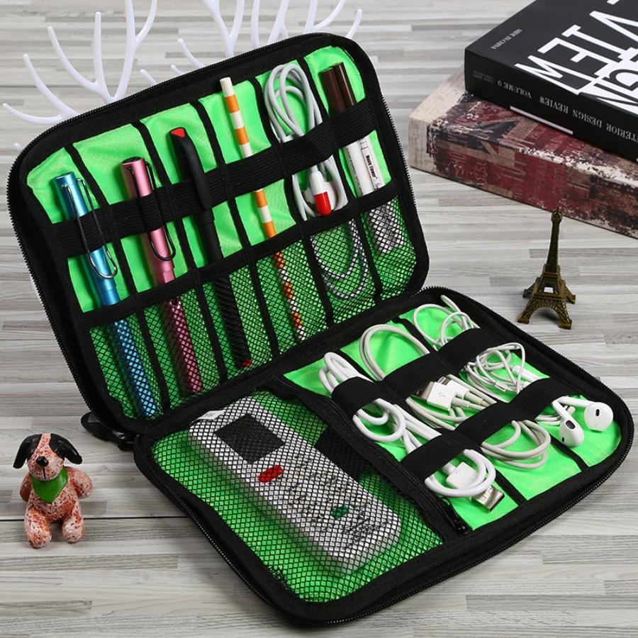 Hộp túi đa năng 2 mặt chia nhiều ngăn đựng phụ kiện công nghệ cáp sạc, tai nghe, sạc dự phòng nhiều màu sắc