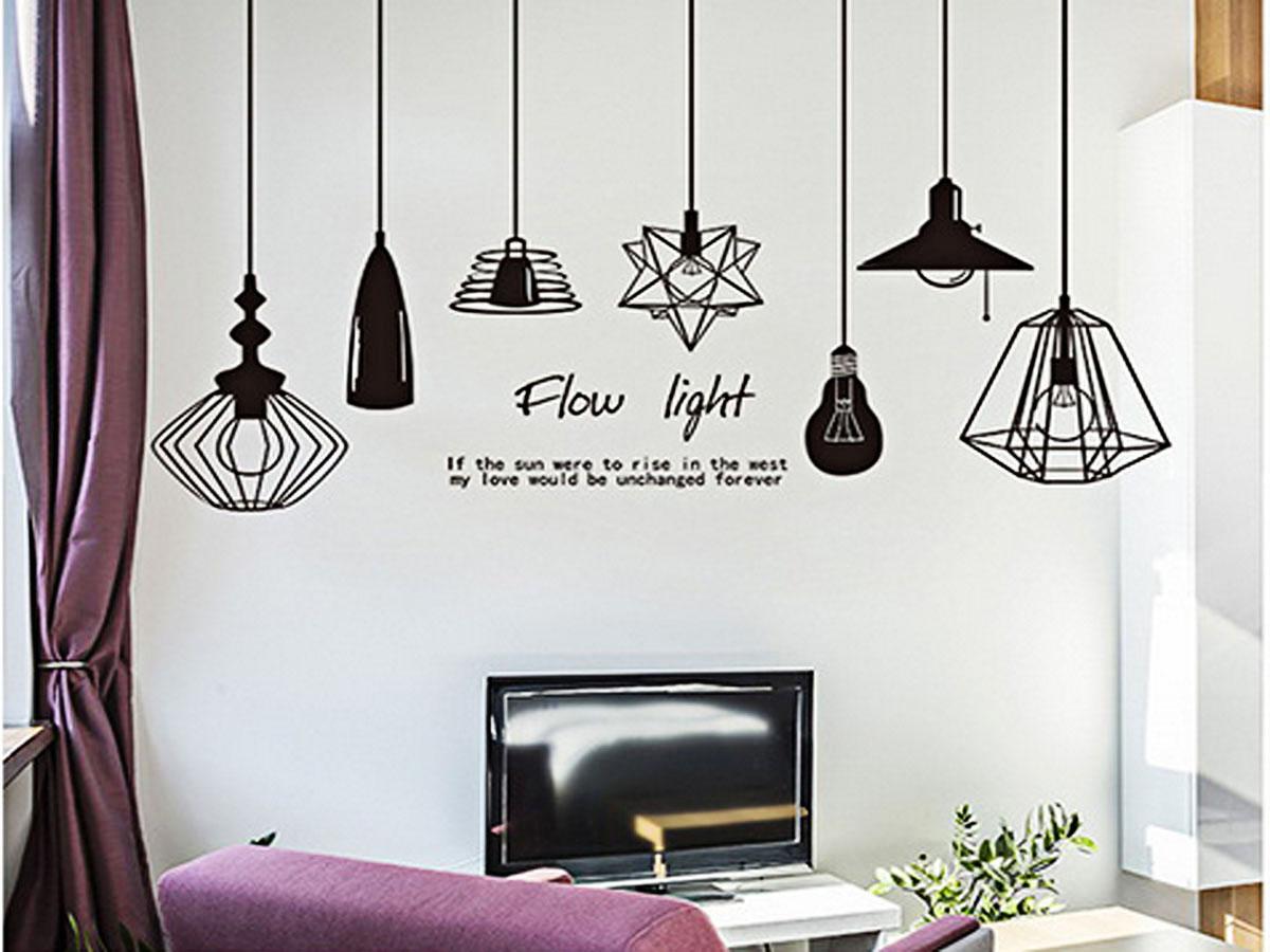 decal dán tường bóng đèn đen flow light