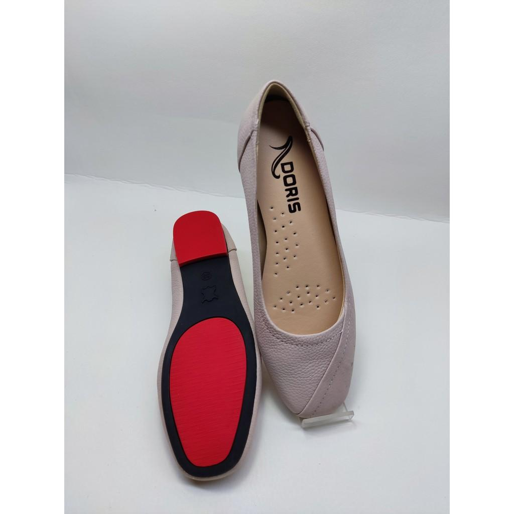 Giày búp bê đế bệt ️️ da thật mũi vuông có viền màu hồng DORIS DR003