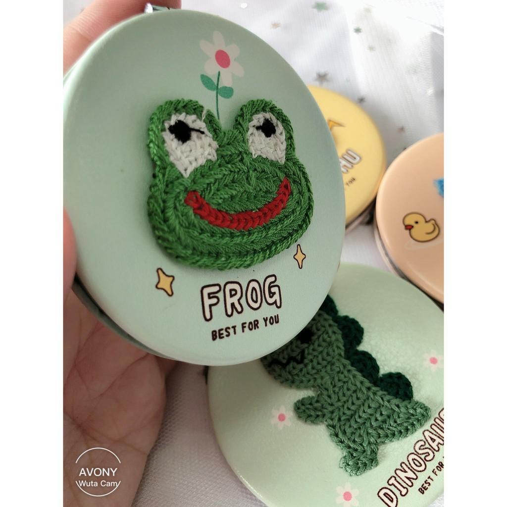 Gương trang điểm bỏ túi mini đính hình thú thêu khủng long, ếch, vịt, pikachu