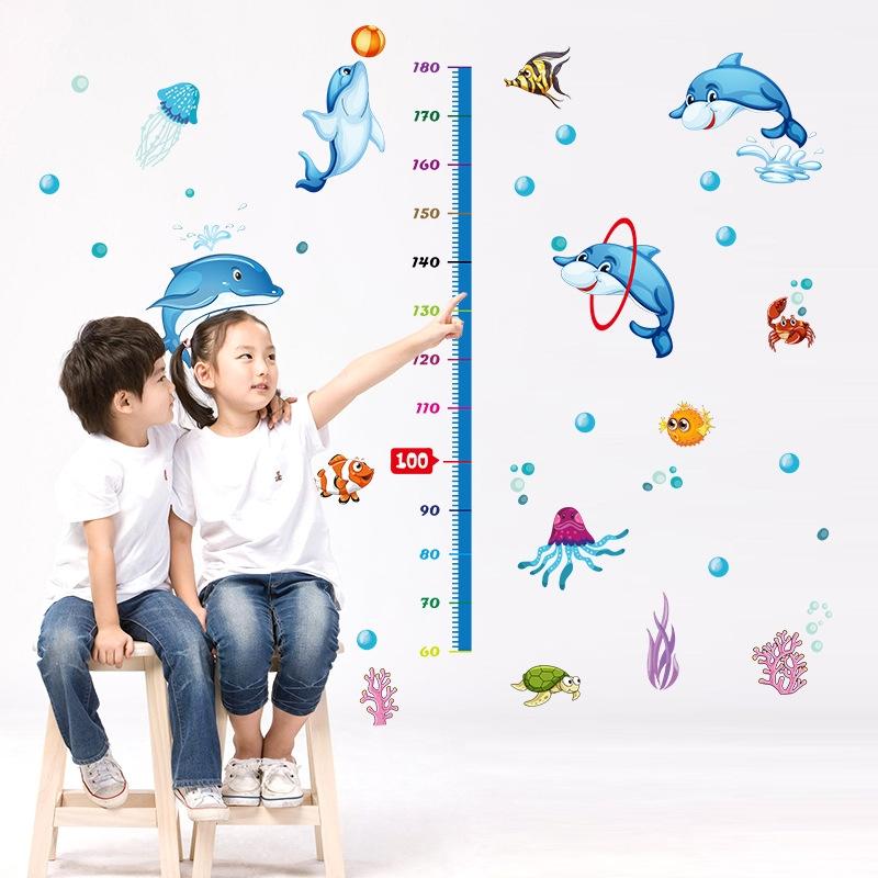 Decal dán tường Cá heo đại dương Thước đo chiều cao cho bé đẹp