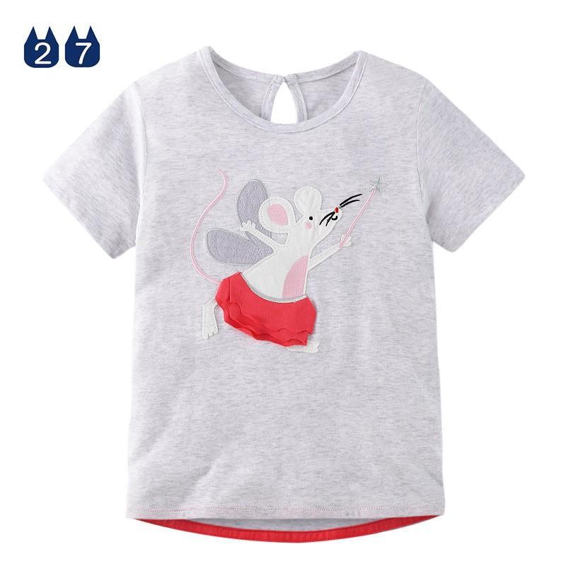 Áo thun bé gái, áo bé gái, áo cho bé gái chất cotton, hình thêu đẹp, đáng yêu