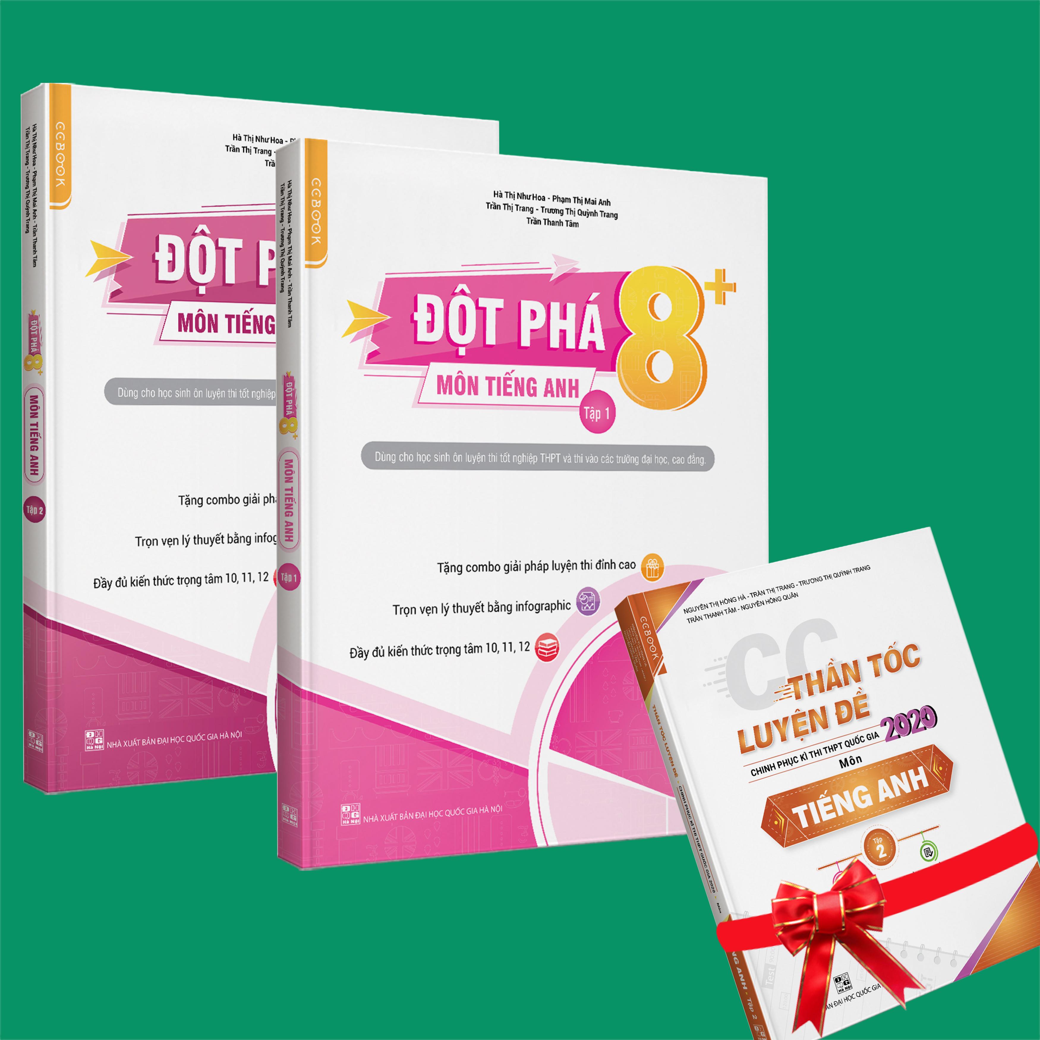 Sách - Combo Đột phá 8+ (phiên bản 2020) môn Tiếng anh tập 1 và 2 (Tặng Thần tốc luyện đề CP kỳ thi THPTQG 2020 môn Tiếng Anh - tập 2)