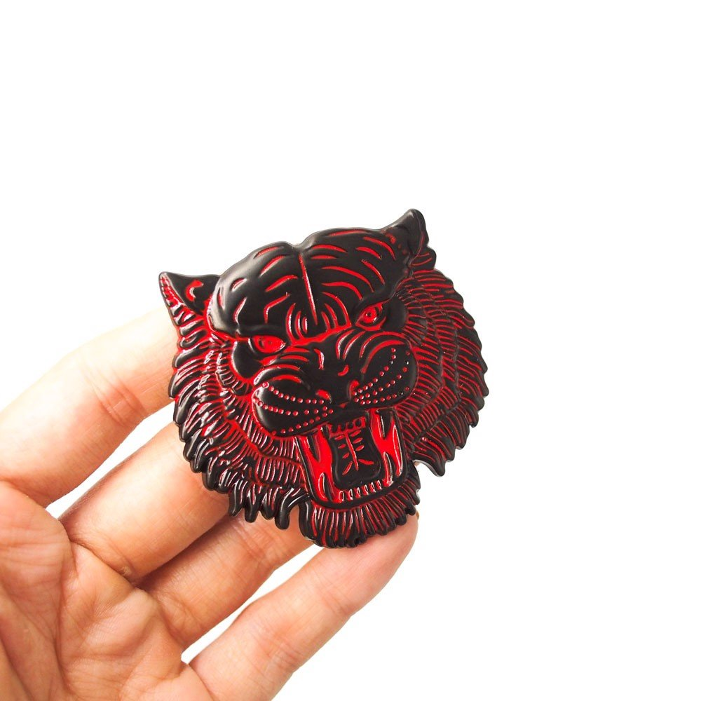 Tiger head đen đỏ - Sticker hình dán metal kim loại 3D