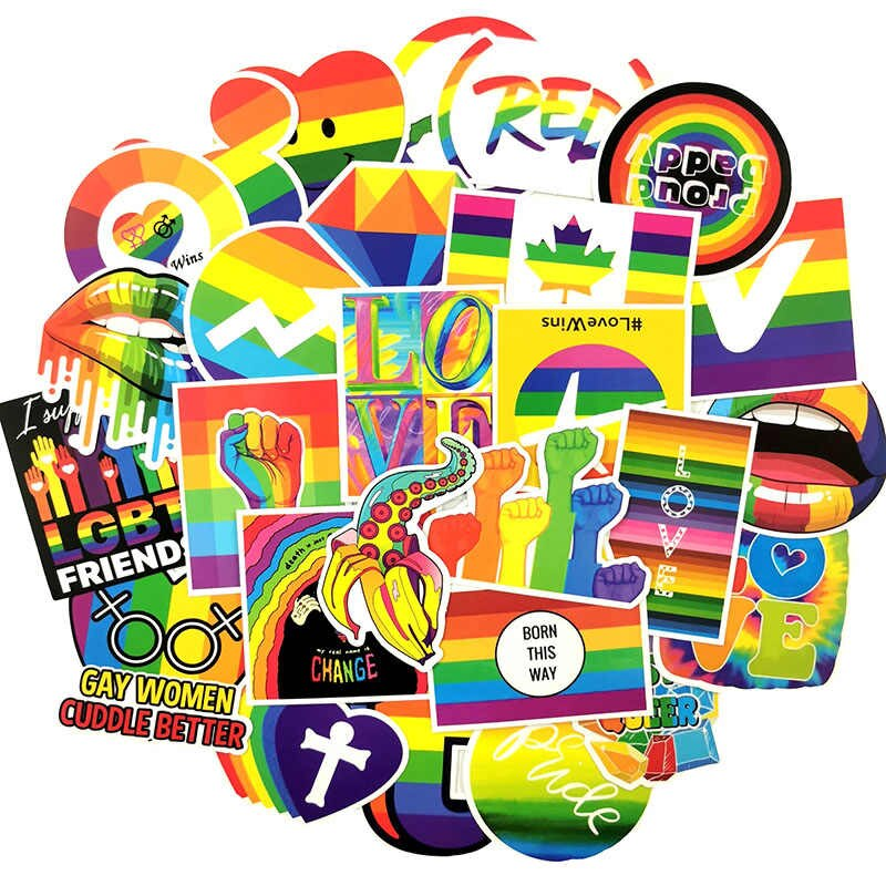 Set 60 sticker LGBT cầu vồng hình dán có ép lụa