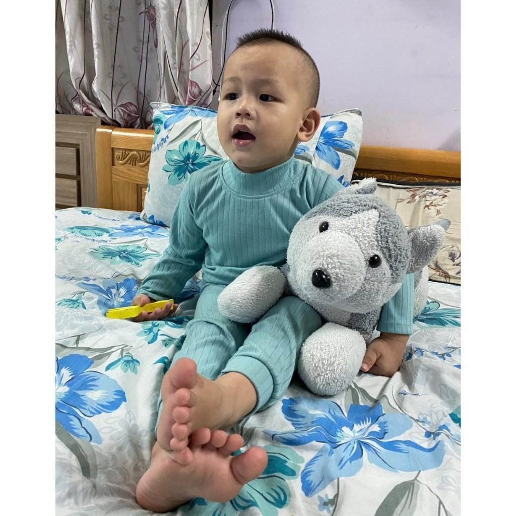 Bộ Cổ 3 Phân Cho Bé Bộ Thu Đông Dài Tay MinKy Mom Cho Bé Trai Bé Gái Thiết kế Cổ Cao Giữ Ấm Tốt Cho Bé Khi Ngủ